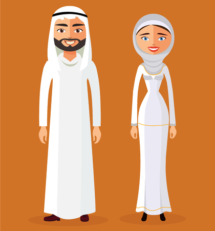 traditional clothing: Muslim Arab man and a woman in a full-length traditional clothing. Flat vector illustration Illustration