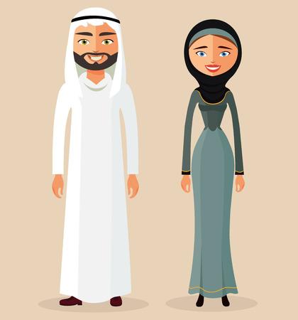 Muslim couple. Arab man and Arab woman.Traditional Arab clothing. Vector illustration
