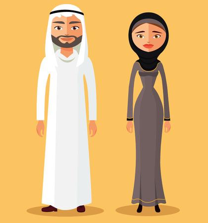 Traditional arab couple. Vector flat illustration