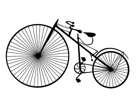 velocipede: Old bicycle template with white background