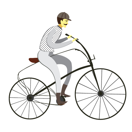 Retro man on a bicycle flat cartoon vector illustration. Isolated on a white background.