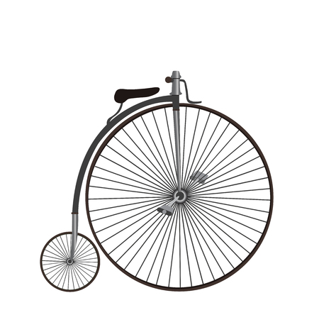 spoke: Old bike. Penny-Farthing bicycle. Silhouette of an old bicycle on white background.