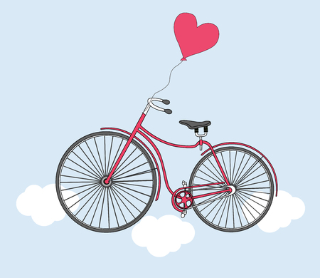 high spirits: Vector illustration with bike, balloon and heart. Card for Valentines Day. Illustration