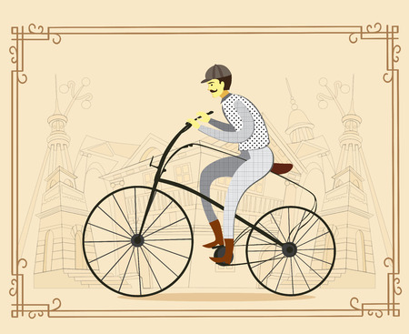 englishman: Retro gentleman with mustaches on a bicycle on old city background. Man riding bike Vector. Illustration