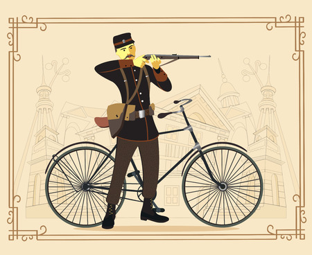 19th century style: Military man and bicycle. Vector. Illustration