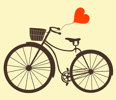 Card for Valentines Day. Love card design. Vector illustration. Retro bicycle with balloon. Ladies bike.