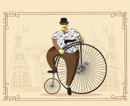 19th century style: Retro bicycle. Vector illustration.