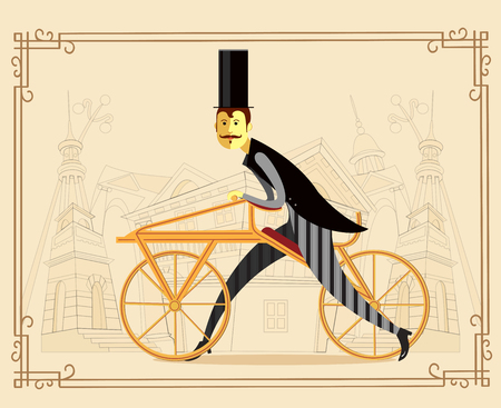 englishman: Gentleman cyclist with a hat in a flat style on old city background. Colorful vector illustration. Elegant man riding on a old bicycle.