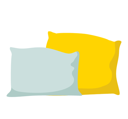 bedding: Colorful pillows isolated on white background - vector illustration. Comfortable bed pillow isolated. Vector bedding fabric pillow isolated. Illustration