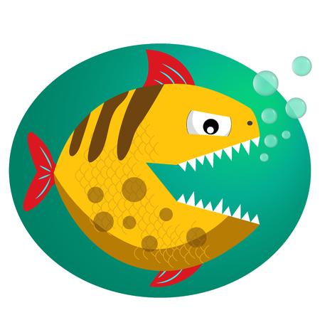 friendless: Yellow toothy piranha with bubbles. Piranha fang. Cute dangerous piranha.