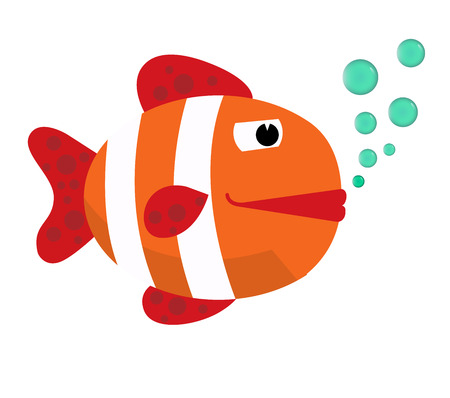 big clown fish: Fish with bubbles. Fish on a white background. Big Fish. Vector Illustration.