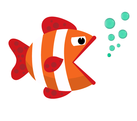 opened mouth: Fish mouth opened with bubbles. Fish on a white background. Vector Illustration. Illustration