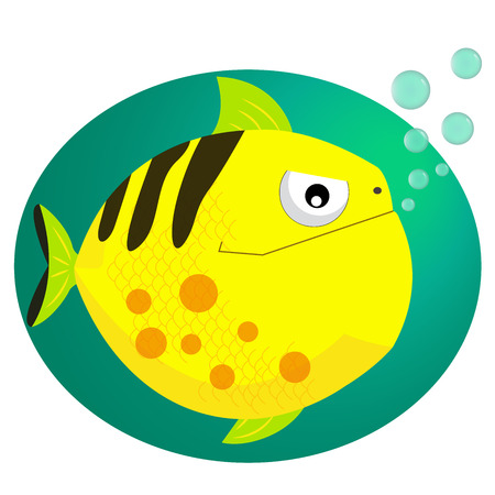 Piranha fish vector illustration with bubbles. Cool cartoon style piranha icon vector format illustration. Illustration