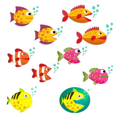 boca cerrada: Conjunto de peces tropicales, ilustración vectorial. Peces con la boca abierta y cerrada con burbujas. Fish vector de estilo plano