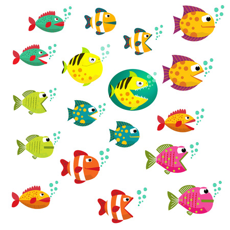 Fish Colorful Vector Set.Collection of colorful tropical fish. Icons colorful fish. Cartoon tropical fish set.