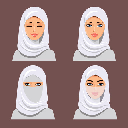 The young beautiful woman in white hijab. The vector illustration isolated on a white background. Illustration