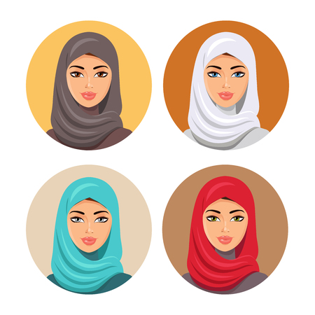 Set four Arab girls in different traditional headdresses. isolated. Illustration