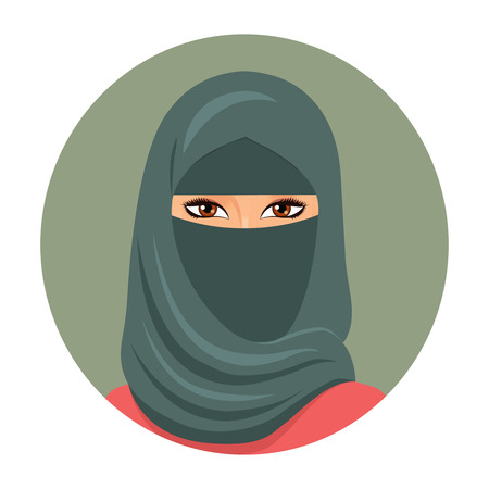 ethnicity: Muslim girl avatar. Portrait of a young muslim woman in hijab. Vector illustration. Illustration