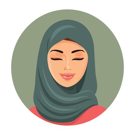 moda donna musulmana chiudendo gli occhi. Arab donna icona ritratto in hijab. Asian hijab musulmano tradizionale. Illustrazione vettoriale.