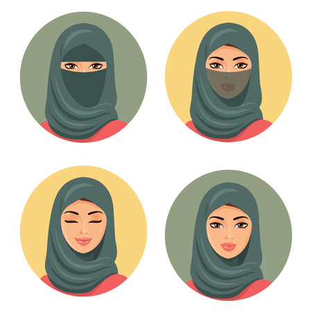niqab: Set four Arab girls avatars in different traditional headdresses. Isolated. Vector. Young arab woman icons set girls portrait in colored hijab. Illustration