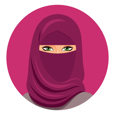 niqab: Muslim woman in hijab avatar closed face. Arab woman in a hijab. Isolated. Vector. Portrait of the saudi woman in a hijab. Illustration