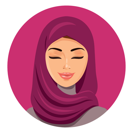 niqab: Beautiful muslim arab woman in hijab closing her eyes vector flat icon avatar. Beautiful face of arabic muslim woman. Portrait of the Muslim woman in a hijab. Isolated.