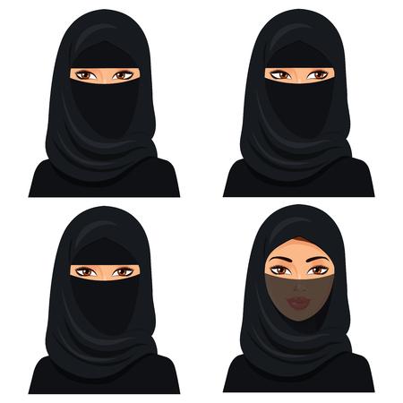 Impostare quattro bella giovane donna saudita ritratto in hijab nero in volto diverso: osserva a sinistra ea destra, il velo faccia chiusa.