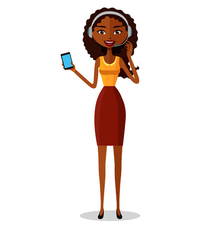 face with headset: Support phone operator. Woman with smart phone. Customer support. Illustration