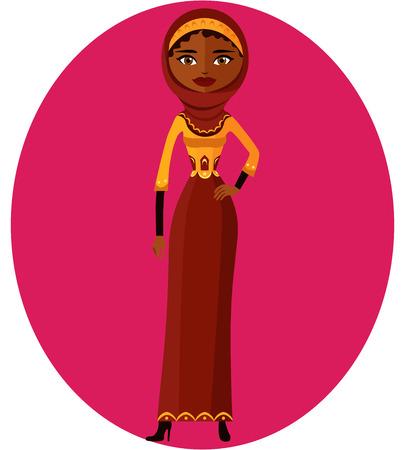 etnia: mujer musulmana. la árabe caricatura en vestido tradicional. Vectores