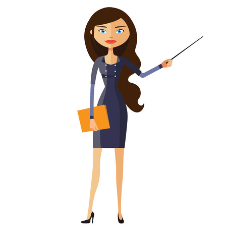 tutor: Teacher with a pointer. Young business woman presenting something. Tutor character. Vector. Illustration