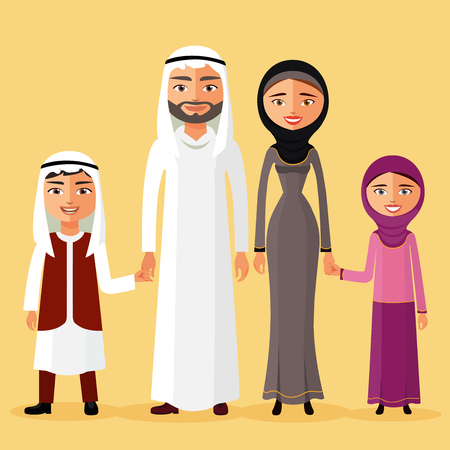 Arab family together in a beautiful dress. Father, mother, daughter, son, are kept in hand and smile.