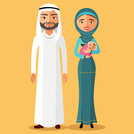 Arab couple with a newborn baby happy. Mother with newborn baby in a flat stile. Ve?tor illustration.
