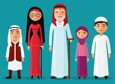 grandchildren: Arab Grandparents with grandchildren together in a flat style. Grandpa, grandma, granddaughter and grandson. Arab old people. Vector illustration.