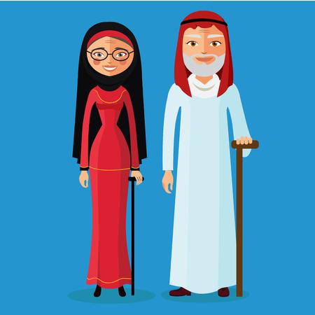 maturity: Arab Old Man and arab old woman. Muslim adult man and woman. Arab old people.