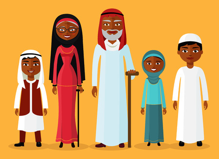 grandfather and grandson: Arab grandson, granddaughter, grandmother and grandfather standing together and smile. Muslim family cartoon character vector illustration.