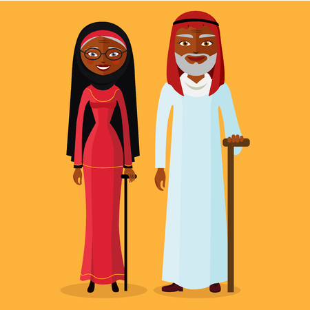 maturity: Vector of arab adult man and woman. Illustration arab old people standing together and happy. Muslim Grandmother and grandfather.