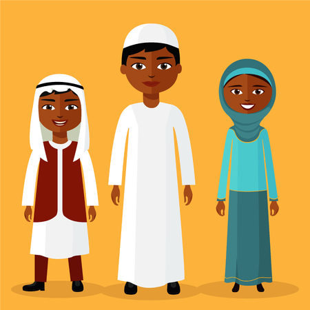Muslim Kids. Young arab boys and girl standing together and smiles. Flat vector illustration. Cartoon saudi kid.