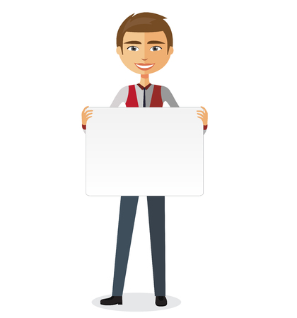 confident: Confident young man holding board cutout. Vector. Illustration