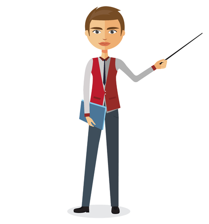 tutor: Teacher with a pointer. Young business man presenting something. Tutor character. Vector.