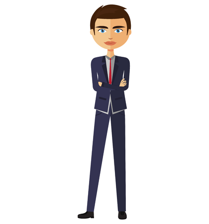 crossed arms: Young businessman with crossed arms. Vector.