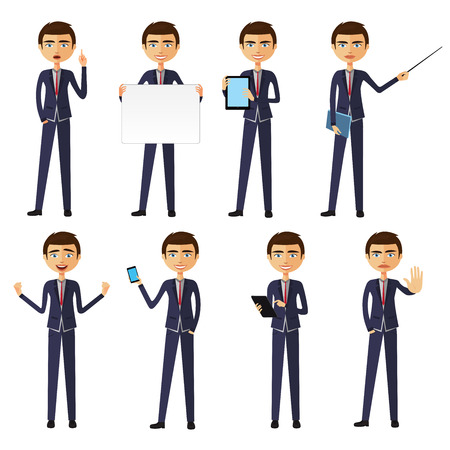 vexation: Man in a business style. Set of poses and emotions. Vector. Illustration