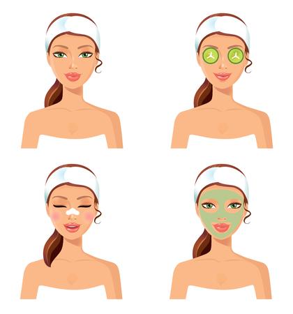 Conjunto de 4 mujeres. balneario de la mujer con la mascarilla cosmética. Retrato sonriente de la chica. la piel limpia, el concepto cosméticos, cara fresca y saludable. Hermosa modelo. elemento de diseño gráfico para spa o salón de belleza cartel