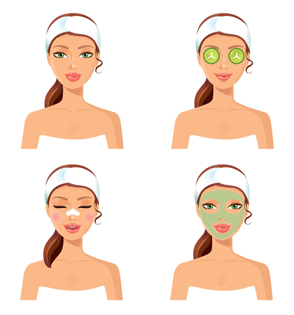 Set of 4 women. Woman spa with cosmetic face mask. Smiling girl portrait. Clean skin, cosmetics concept, fresh healthy face. Beautiful model. Graphic design element for spa or beauty salon poster Illustration