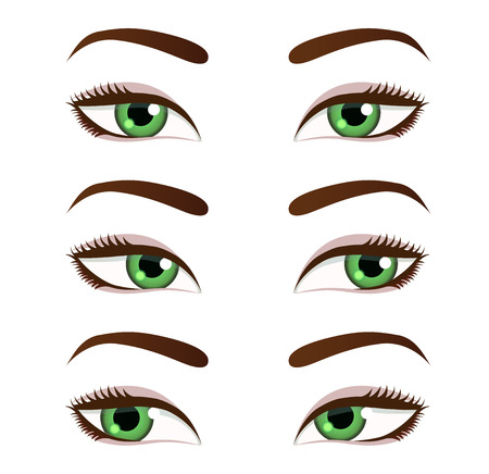 glance: Eyes collection. Eyes look left. Eyes look right Illustration
