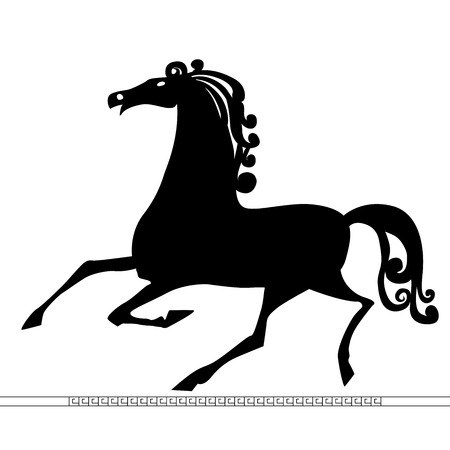 Silhouette of the running horse.Vector.