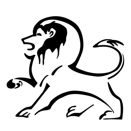 dingbats: Lion Logo. Illustration of a heraldic lion. Lion mascot. Vector.