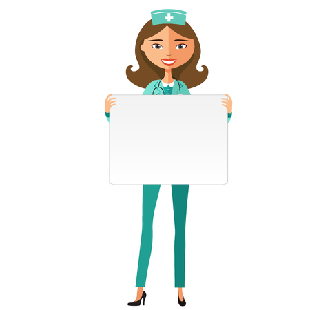 doctor holding gift: Confident young doctor woman with board. Cute doctor girl holding a large horizontal banner. Illustration