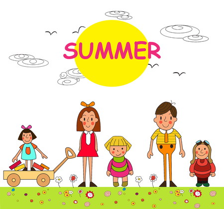 outdoor activities: Group of children- summer boys and girls. Children summer vacation in park. Vector set of summer childs outdoor activities. Summer children. Kids playing outside.