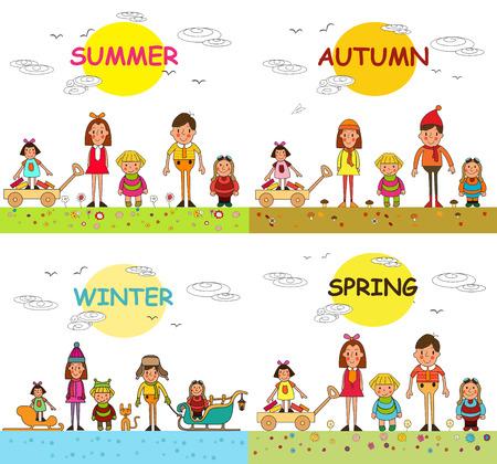 春、夏、秋、冬、公園で幸せな子供の休暇。ベクトル。4 つの季節。今年の季節。