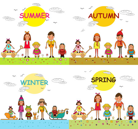 Spring, summer, autumn and winter and happy kids vacation in park. Vector. The four seasons. Seasons of the year.
